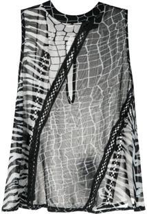 Bo.Bô Blusa Estampada Com Transparência - Preto