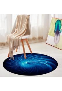 Tapete Redondo Wevans Abstrato Azul