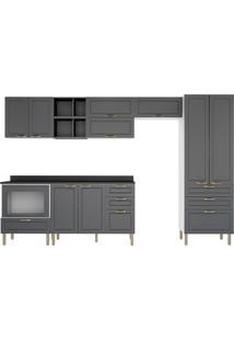 Cozinha Modulada 10 Peças Com Tampo E Nichos Nevada 5958Mf-Multimóveis - Branco Premium / Grafite Premium