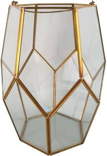 Vaso Decorativo De Vidro E Metal 25 Cm