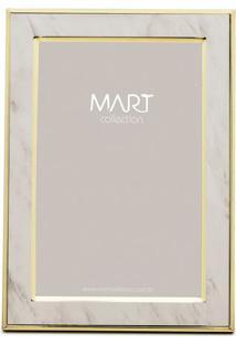 Porta Retrato Marmorizado- Off White & Dourado- Tamamart