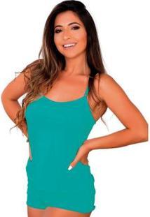 Baby Doll Conforto Short E Camiseta Linha Noite Lingerie Feminino - Feminino-Verde Claro