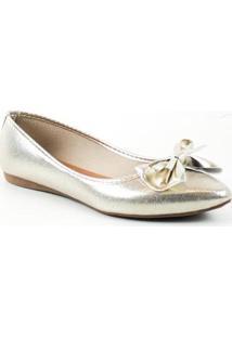 Sapatilha Tag Shoes Metalizada Laço Bico Fino Conforto - Feminino-Dourado