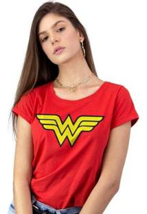 Camiseta Feminina Wonder Woman Logo - Feminino-Vermelho