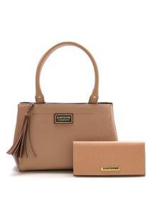 Bolsa Feminina Média Bicolor Mais Carteira Santorini Handbag Nude/Marrom