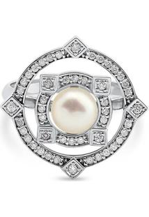 Anel Ouro Branco Pã©Rola E Diamantes