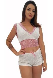 Baby Doll Cropped All Store Renda Cinza