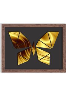 Quadro Decorativo Em Relevo Espelhado Borboleta Dourada Madeira - Médio
