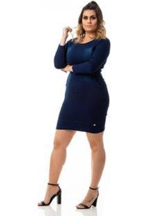 Vestido Jeans Tubinho Com Lycra Plus Size Feminino - Feminino