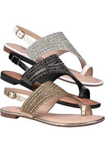 Sandália Rasteira Feminina Dakota Brilho Dedo Conforto Moda Fashion Lançamento Comfort Moda Pedraria Atacado Revenda