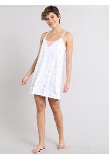 Camisola Feminina Estampada De Guaxinim Alças Finas Off White