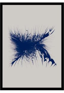 Quadro Com Moldura A Mancha Cinza E Azul (33X24)