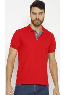 Polo Lisa Com Bordado- Vermelha & Azul Marinho- Wranwrangler