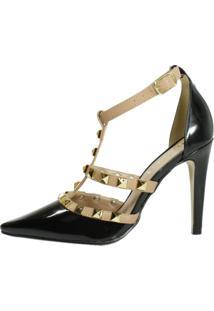 Scarpin Week Shoes Tachas Spike Preto E Nude