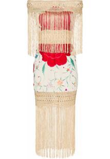 One Vintage Vestido Floral Com Franjas - Estampado