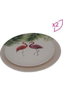 Jogo De Pratos Flamingos- Off White & Verde- 2Pã§Sbtc Decor