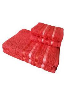 Jogo 4 Toalhas 2 Banho 2 Rosto - Onix Vermelho