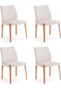 Conjunto Com 4 Cadeiras De Jantar Línea Cru E Castanho