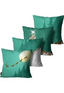 Kit Com 4 Capas Para Almofadas Premium Cetim Mdecore Natal Papai Noel Verde 45X45Cm