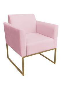 Poltrona Decorativa Base Industrial Dourada Maressa S19 Suede Rosa Beb