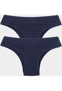 Kit Calcinhas Tanga Elegance Algodão Orgânico 2 Peças - Feminino-Azul