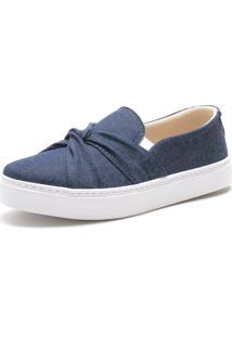 Slip On Iate Sapatãªnis Sapatilha Feminina Urbano Sem Cadarã§O Confort - Azul/Azul Marinho/Jeans - Feminino - Tãªxtil - Dafiti