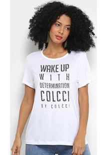 Camiseta Colcci Wake Up Manga Curta Feminina - Feminino-Branco