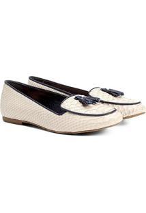 Sapatilha Couro Shoestock Cobra Barbicacho Feminina - Feminino-Off White