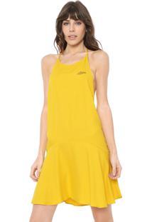 Vestido Triton Curto Evasê Amarelo