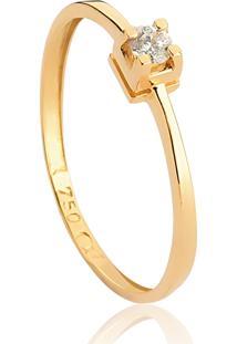 Anel De Ouro 18K Solitário Com Diamantes-Too Love