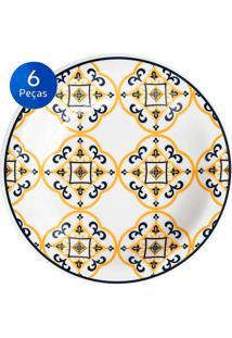 Conjunto De Pratos Fundos 6 Peças Floreal São Luis - Oxford Azul/Amarelo