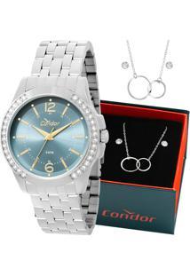 Kit Relógio Condor Feminino Com Colar E Brincos Co2035Kow/K3A