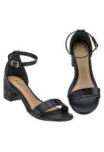 Sandália Feminina Croco Preto Salto Sapato Joys