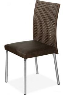Conjunto Sala De Jantar Mesa Tampo De Vidro E 6 Cadeiras Mila Acácia Viana Aço Nobre Móveis Marrom