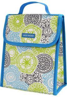 Bolsa Térmica Floral- Azul & Verde Limão- 23X19X13Cmjacki Design