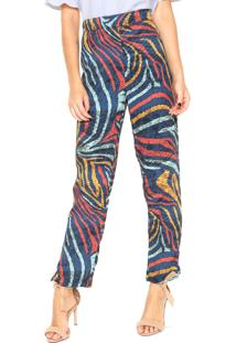 Calça Triton Pijama Estampada Azul/Vermelha