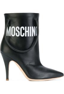 Moschino Ankle Boot De Couro - Preto