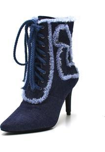 Bota Cano Curto Salto Fino Gisela Costa Jeans - Azul - Feminino - Dafiti