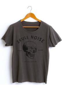 Camiseta Estonada Corte À Fio Joss Skull Noise Masculina - Masculino-Chumbo