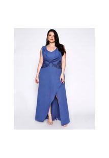 Vestido Almaria Plus Size Pianeta Plus Size Longo Degagê Azul