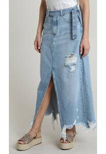 Saia Jeans Feminina Longa Destroyed Com Fenda E Bolsos Azul Claro