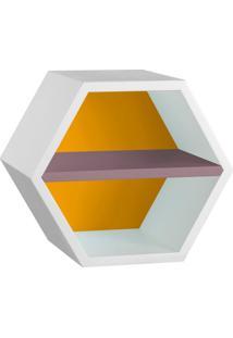 Nicho Hexagonal Favo Ii Com Prateleira Branco Com Amarelo E Lilás