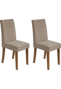 Conjunto De Cadeiras De Jantar 2 Rock Veludo Imbuia E Avelã