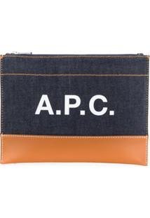 A.P.C. Clutch Com Logo E Recorte Contrastante - Azul