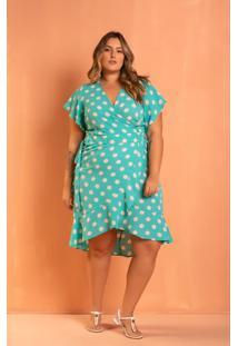 Vestido Poá Tiffany Transpassado Plus Size