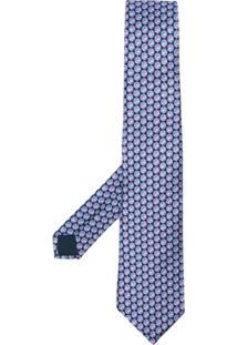 Lanvin Gravata Com Padronagem Geométrica - Azul