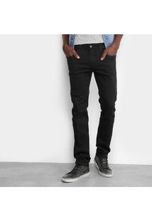 Calça Skinny Sawary Color Elastano Masculina - Masculino-Preto