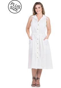 9b61e226c8 Plus Size Branco Linho feminino