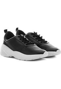 Tênis Ramarim Dad Sneaker Furinhos Feminino - Feminino-Preto