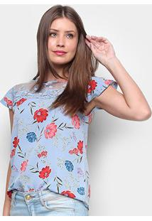 Blusa Ms Fashion Tule Bordado Floral Feminina - Feminino-Azul